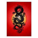 El rojo estalló el dragón chino tarjetón