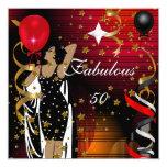 El rojo fabuloso del negro de la fiesta de invitación 13,3 cm x 13,3cm