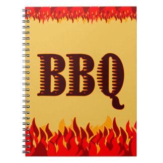 El rojo flamea el cuaderno de la receta del Bbq