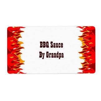 El rojo flamea etiquetas de enlatado del personali etiqueta de envío