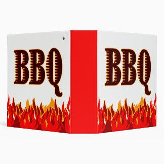 El rojo flamea la carpeta de la receta del Bbq