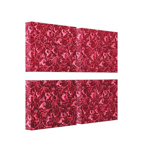 El rojo floral del vintage estiró la impresión de  lona estirada galerias