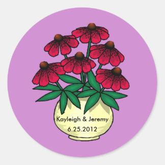 El rojo florece al pegatina personalizado fondo pú