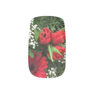 El rojo florece arte del clavo de la tarjeta del stickers para uñas