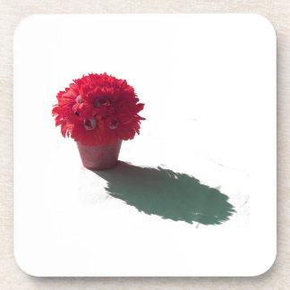 El rojo florece el cubo y la sombra blancos posavasos de bebida