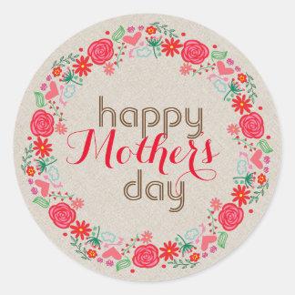 El rojo florece el día de madre Guirnalda-Feliz Pegatina Redonda