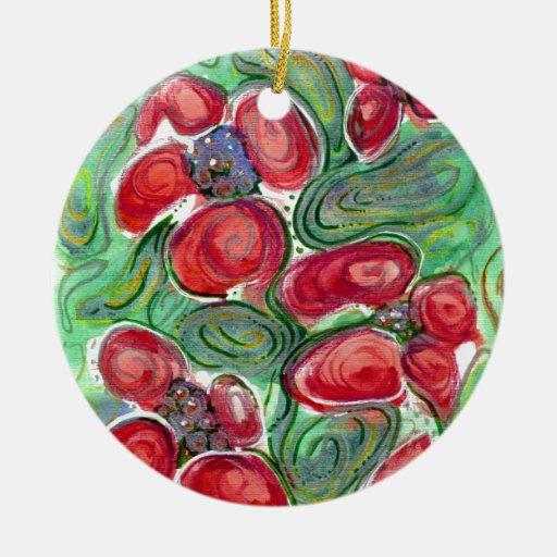 El rojo florece fantasía adorno navideño redondo de cerámica