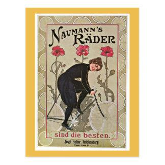El rojo florece la bicicleta del vintage tarjetas postales