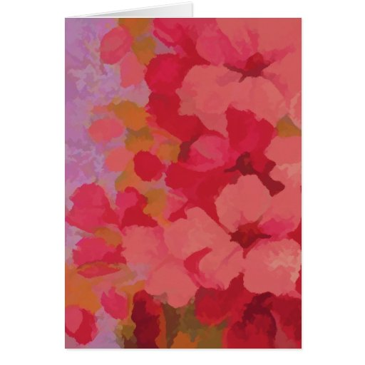El rojo florece la tarjeta de felicitación de la