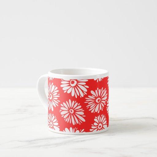 El rojo florece la taza del jumbo del Espresso/ Tazas Espresso