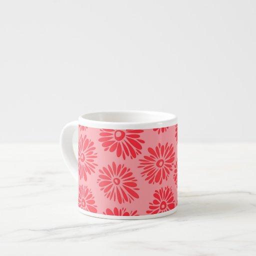 El rojo florece la taza del jumbo del Espresso/ Tazitas Espresso