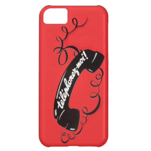 El rojo francés irónico Corded el vintage del telé Funda Para iPhone 5C