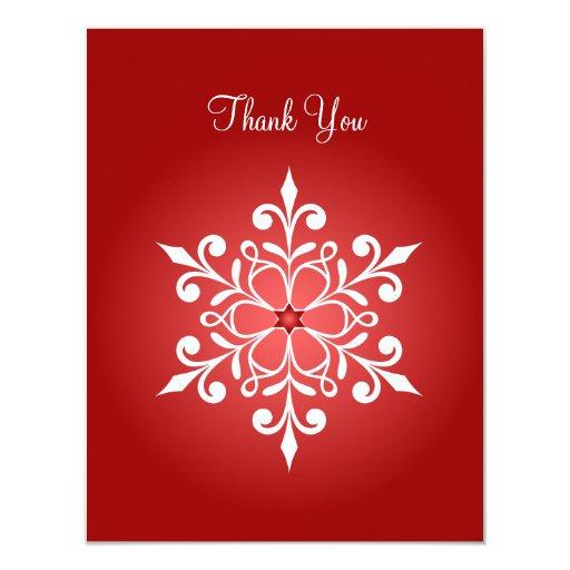 """El rojo grande del copo de nieve le agradece invitación 4.25"""" x 5.5"""""""
