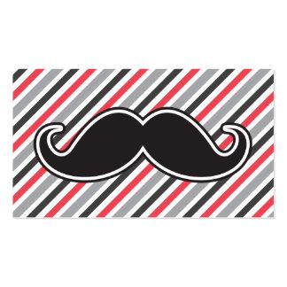 El rojo gris retro raya el bigote negro del tarjetas de visita