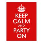 El rojo guarda calma y va de fiesta en cumpleaños invitaciones personalizada