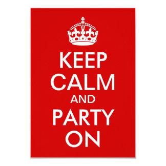 """El rojo guarda calma y va de fiesta en cumpleaños invitación 3.5"""" x 5"""""""
