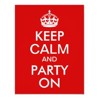 """El rojo guarda calma y va de fiesta en cumpleaños invitación 4.25"""" x 5.5"""""""