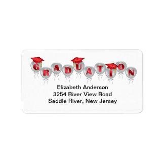 El rojo hincha etiquetas de dirección de la gradua