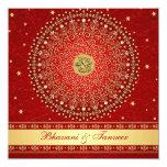 El rojo hindú de Ganesh, el casarse de las volutas Invitación Personalizada
