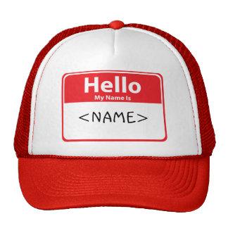 El rojo hola mi nombre es, <NAME> Gorras De Camionero