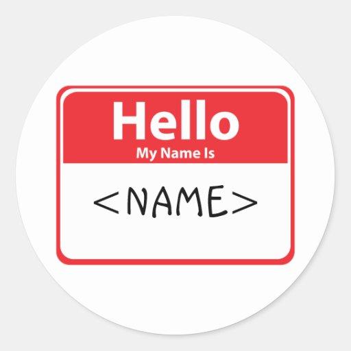 El rojo hola mi nombre es, <NAME> Etiquetas Redondas