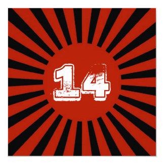 """El rojo, la fiesta del cumpleaños del muchacho invitación 5.25"""" x 5.25"""""""