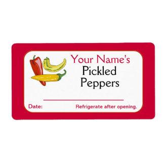 El rojo personalizó las pimientas conservadas en etiquetas de envío