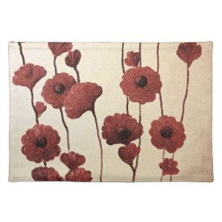 El rojo Pictural florece al americano MoJo Placema Mantel
