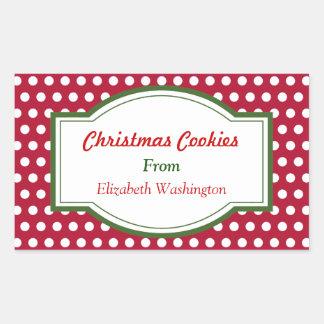 El rojo puntea a los pegatinas del navidad rectangular pegatina