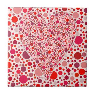 El rojo puntea lunares del rosa de la forma del co azulejo cuadrado pequeño