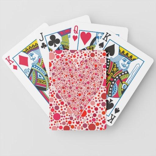 El rojo puntea lunares del rosa de la forma del co baraja cartas de poker