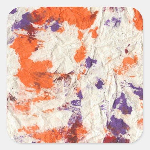 el rojo púrpura anaranjado arrugó diseño de la pegatina cuadrada