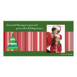 El rojo raya photocard del árbol de navidad tarjetas personales