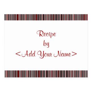 El rojo raya tarjetas de la receta 4 x 6 postales