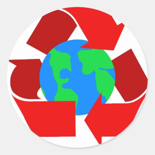el rojo recicla pegatina redonda