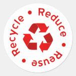 El rojo reduce la reutilización recicla al pegatinas redondas