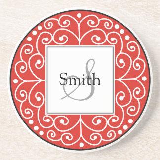 El rojo remolina boda personalizado monograma posavasos manualidades