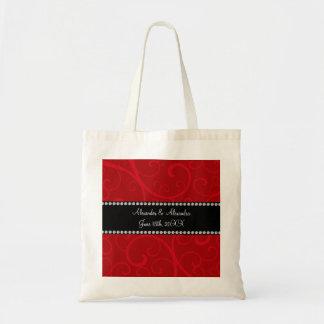 El rojo remolina los favores del boda bolsas lienzo