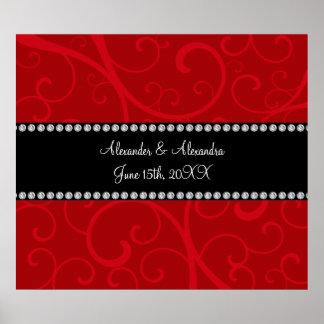 El rojo remolina los favores del boda póster