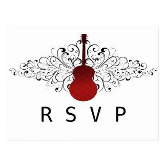 El rojo remolina postal de RSVP de la guitarra