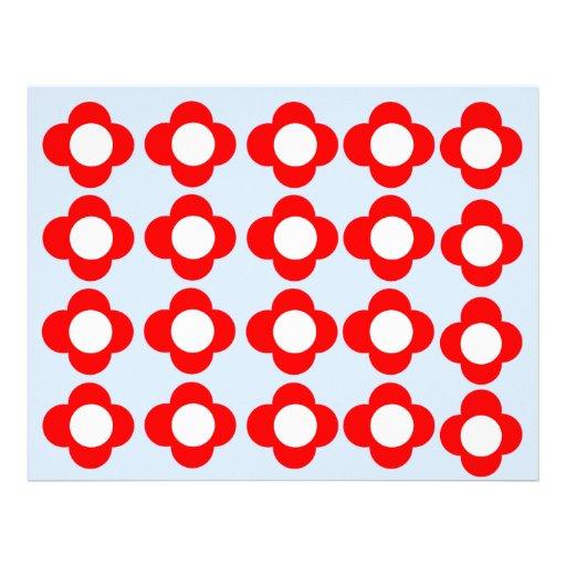 El rojo retro florece el papel con membrete membrete a diseño