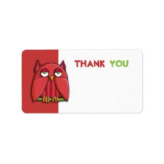El rojo rojo del búho le agradece pegatina de la e etiqueta de dirección