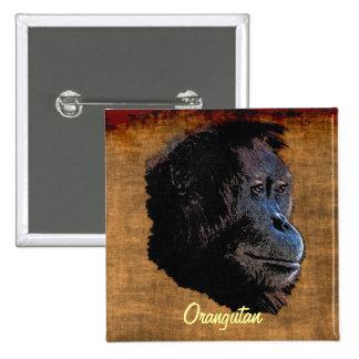 El rojo salvaje del orangután imita la insignia pin cuadrado