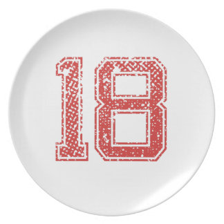 El rojo se divierte Jerzee número 18 Plato Para Fiesta