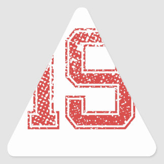 El rojo se divierte Jerzee número 19 Pegatina Triangular