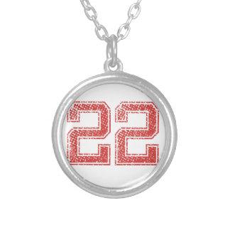 El rojo se divierte Jerzee número 22 Collar Plateado