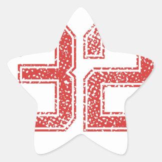 El rojo se divierte Jerzee número 32 Pegatina Forma De Estrella Personalizada