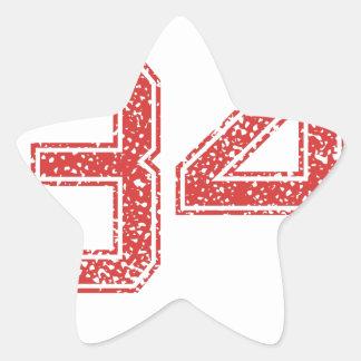 El rojo se divierte Jerzee número 34 Calcomanías Forma De Estrellas Personalizadas