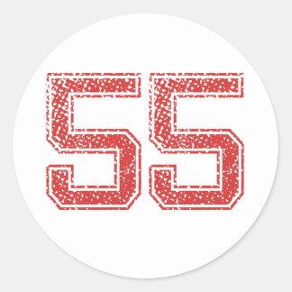 El rojo se divierte Jerzee número 55 Pegatina Redonda