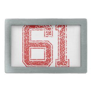 El rojo se divierte Jerzee número 61 Hebillas Cinturon Rectangulares